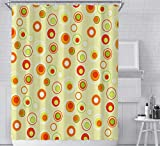 JOVEGSRVA Cortinas de ducha con círculo naranja, impermeables, para baño, 180 x 180 cm