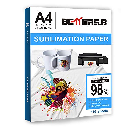 """BetterSub Sublimation Paper Heat Transfer Paper 110 Sheets A4 Size 8.29"""" x 11.7"""" for EPSON HP CANON Inkjet Printer with Sublimation Ink in Light Color Shirts Hat Cap Mug Cup"""