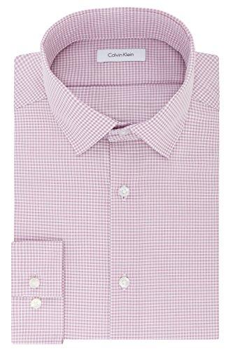 Calvin Klein Men's Dress Shirt Slim Fit Non Iron Gingham, Rose Quartz, 16