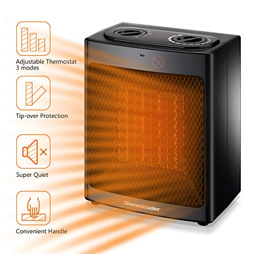 Space Heater Electric Portable Heater, Homeleader 1500W Ceramic Heater for Home and Office, Small Personal Room Heater with Adjustable Thermostat Tip Over Heater Space