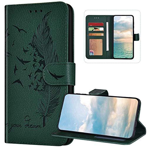Funda tipo cartera compatible con Xiaomi Mi 10 Lite, piel sintética, cierre magnético, funda protectora de silicona suave, con diseño de plumas en relieve, funda con tarjetero, color verde