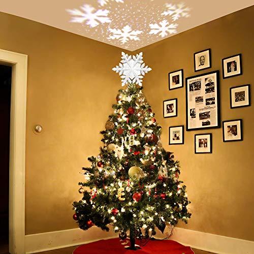 GEEDIAR LED Weihnachtsbaum Spitze Schneeflocken Projektor Beleuchtung für Weihnachten Deko Lampe (Schneeflocke Silber)
