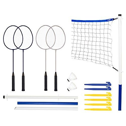 Franklin Sports Badminton Set - Portable Badminton Set - Adult and Kids Badminton Net - Perfect Backyard/Lawn Game - Includes 4 Badminton Racquets - Recreational