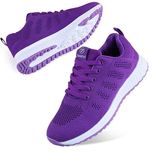 Youecci Zapatillas de Deportivos de Running para Mujer Deportivo de Exterior Interior Gimnasia Ligero Sneakers Fitness Atlético Caminar Zapatos Transpirable Morado 41 EU