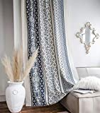 Muccyy Boho Chic Farmhouse Cotton Linen Window Curtains Retro Blue Pattern Window Semi Blackout Curtains for Bedroom Living Room,1 Piece,59' W×94' L
