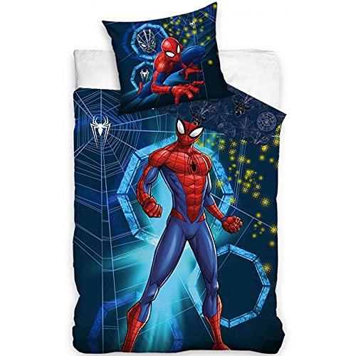 Spiderman – Juego de cama de algodón infantil Spider Verse Marvel – Funda nórdica 140 x 200 cm y funda de almohada 65 x 65 cm
