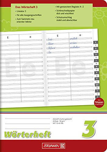 Brunnen 1045996 Wörterheft 3 (A5, 28 Blatt, Lineatur 3, mit Register)