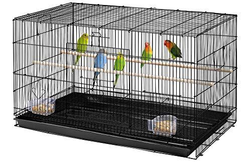 Yaheetech Stapelbarer breiter Vogelkäfig, Flugkäfig mit Sitzstangen für Papageien, Sittiche und andere Vögel, 76 x 45,5 x 45,5 cm