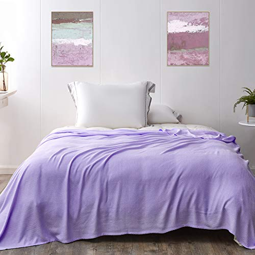 Kpblis Cooling Bamboo Blankets for Hot Sleepers, Lightweight Summer Big Cool Blankets Queen Size, Thin Bamboo Extra Cool Throw Blankets for Hot Flashes (79x91 inches, Purple)