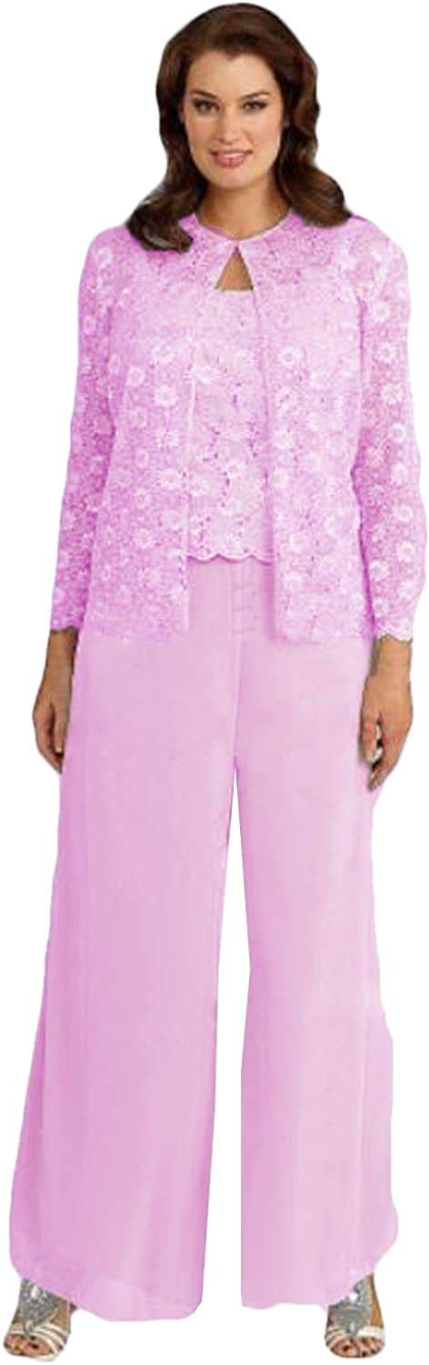 Xixi House Lace 3 Piece Mother of The Bride Pants Suit 2021 Mother of The Groom Outfit Plus Size
