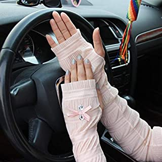 Summer Lady Lace Silk Gloves Printed Long Sleeves Anti-UV Sun Fingerless Arm Multicolor - light pink