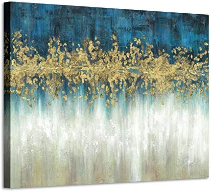 Abstract Modern Wall Art Painting Gray and Navy Blue Canvas Picture Gold Foil Artwork for Living product image