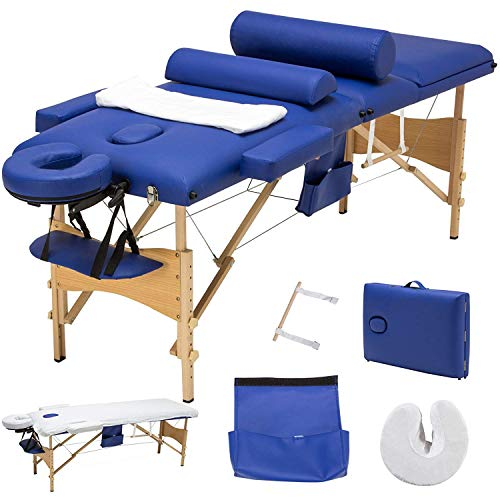 Uenjoy Folding Massage Table 84'' Professional Massage Bed Luxury-Model With Additional Accessories 3 Fold, Blue