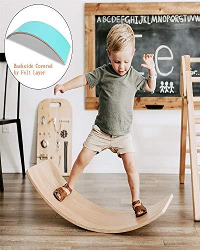 AFF Kid Madera Wobble Yoga Balance Board Curvas Junta Waldorf - Contribuir a niños a Construir un Sentido de Equilibrio, el Cuerpo Muscular y Desarrollo de la Mente Juguetes educativos,Verde