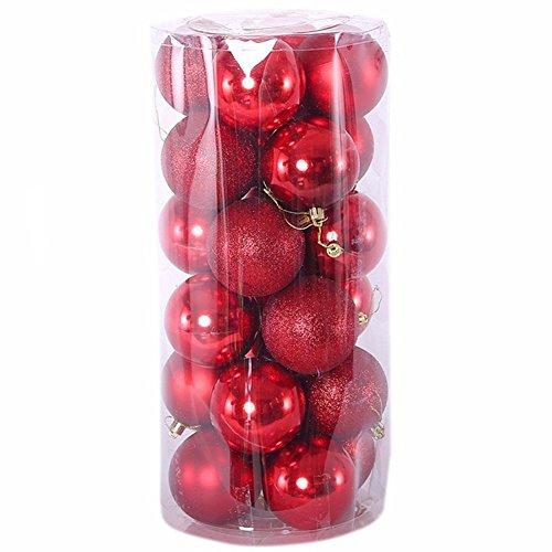 Kentop 24PCS Sfera di Decorazione Albero di Natale ciondoli Decorativi da Appendere Palline di Natale, 4cm 4cm Rosso