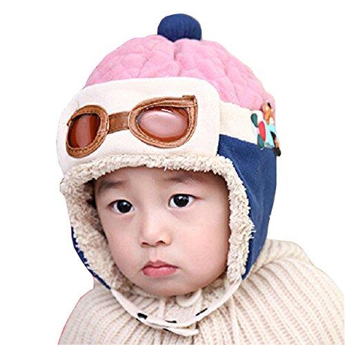 Witery, berretto invernale, per bambini, motivo aviatore, unisex [Warm Hats]Pink Taglia unica