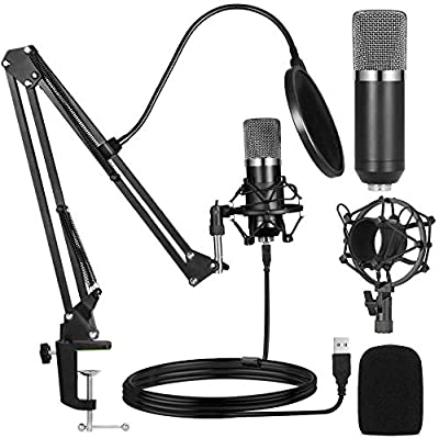 Ankuka USB Condenser Microphone Studio Cardioid Computer PC Microphone Kit 192kHz/24 bit with Scissor Arm Stand Mount for Instruments Voice Overs Recording Podcasting Streaming YouTube Karaoke Gaming