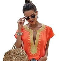 Jarhit 女性、カジュアル、V-ネックのシャツ、プリント半袖トップ、緩いブラウス、オレンジXL