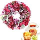 母の日 の プレゼント バラ おいもやケーキ洋菓子 花とスイーツ プリザーブドフラワー アレンジメント 花とスイーツお菓子セット ミニリース 母の日ギフト (赤)