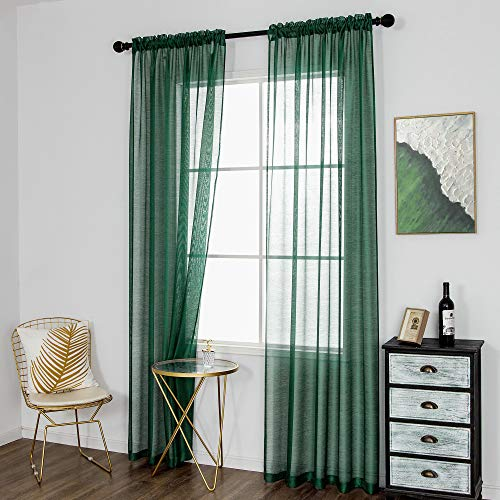 DUALIFE Emerald Green Sheer Curtains 84 inch Length Hunter Green Solid Voile Window Curtain Panels Drapes Rod Pocket Top for Living Room Bedroom Transparent Window Treatments 2 Panels