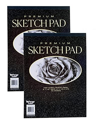 Premium Sketch Book - 9x12-Inch - 40 Sheets per Book - Excellent for Pencil, Pastel, Charcoal and Crayon from Northland Wholesale. (2-Premium Sketch Books)