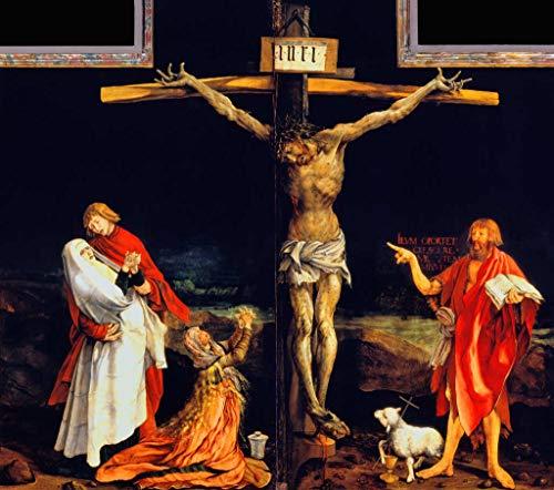 Kunstdruck/Poster: Mathis Gothart Grünewald Isenheimer Altar Erste Schauseite Mitteltafel Christus am Kreuz - hochwertiger Druck, Bild, Kunstposter, 45x40 cm