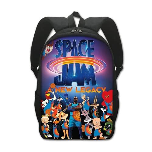 Space Jam 2 Mochilas Mochila escolar Bolsa de almuerzo Space Jam Bolsas para niños Bolsa de hombro para niños, 15, 16inch,