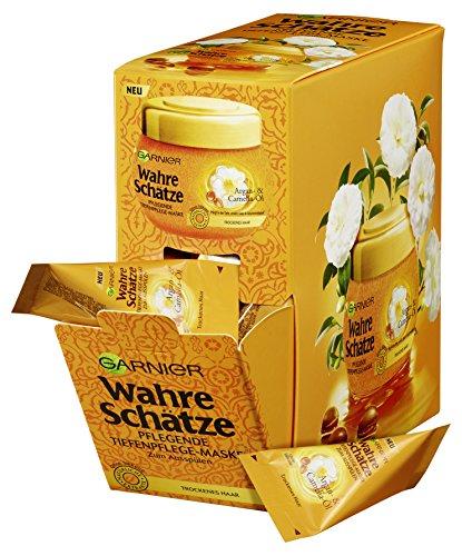 Garnier Wahre Schätze Tiefenpflege-Maske Argan- & Camelia-Öl Kur-Kissen, nährt und verwöhnt trockenes Haar, für mehr Glanz und Geschmeidigkeit, 6er-Pack (6 x 20 ml)