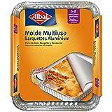 Albal Aluminio 32x26x5 Centímetros con Tapa | Desechables | Asar, Congelar y Conservar | 6-8 Porciones | 2 Moldes