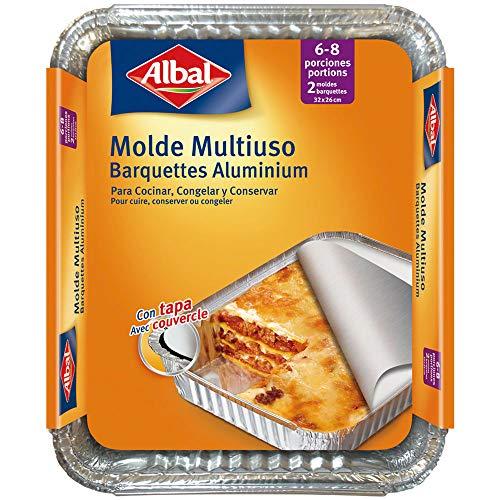 Albal Aluminio 32x26x5 Centímetros con Tapa | Desechables | Asar, Congelar y Conservar | 6-8 Porciones | 2 Moldes, 202567