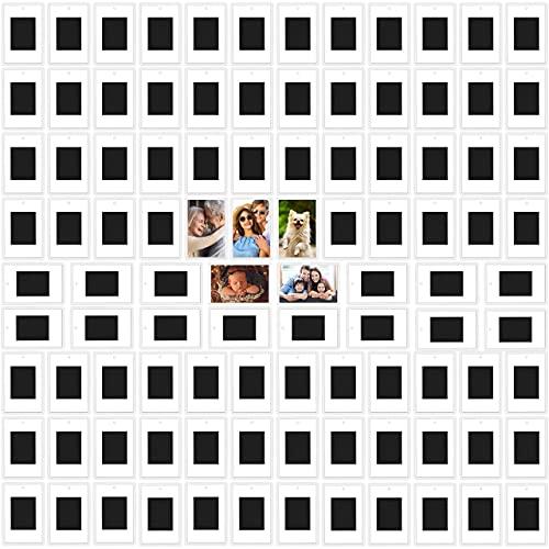 Kurtzy Bilderrahmen magnetisch für den Kühlschrank (100er Pack) - Für Fotos 7 x 4,5 cm - Durchsichtige Klare Acryl-Kühlschrankmagnete für Kleine Fotos - Geschenke für Familie & Freunde