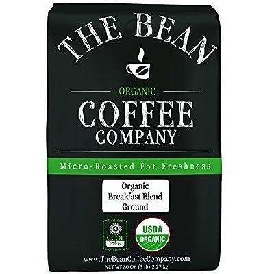 The Bean Coffee Company Organic Breakfast Blend, Medium Roast, Ground, 5 Lb Bag, 80 Ounce (5 Pound)