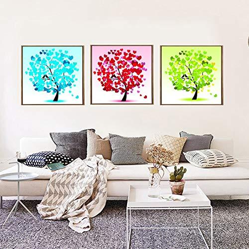 BuhuAZXM 3 stuks gedrukt hartvormige bladeren canvas schilderij poster voor woonkamer decoratie muurkunst foto's 70x70cm x3 Pcs Geen frame.