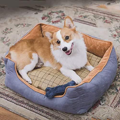 Sebasty Colchón para perros pequeños y medianos, extraíble y lavable, para interior Oxford, giratorio, para cuatro estaciones, universal, gris, 60 x 50 x 19 cm