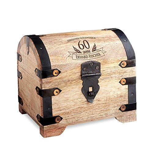 Casa Vivente Schatztruhe mit Gravur – Zum 60. Geburtstag – Personalisiert mit Namen – Aufbewahrungsbox aus hellem Holz – Verpackung für Geld und Gutscheine – Geschenkidee für Männer und Frauen