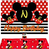 Mickey Mouse Backdrop and Tablecloth for Mickey 1st Theme Birthday Party Supplies,Cartoon Colorful Dots Photography Background Happy Birthday Banner Table Cover for One Year Old Boy Toddlers Shower