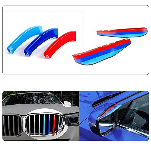 Für 11-17 X3 X4 F25 F26 (7Gitter) 3D Colors M Front Grille Trim Strips Cover Stickers+Rear View Mirror Rain Eyebrow 5Stück