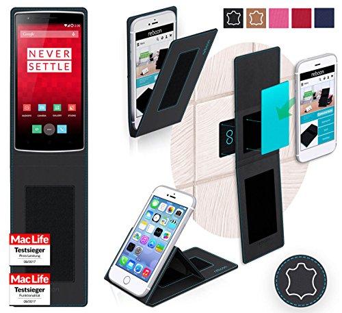 reboon Hülle für OnePlus One Tasche Cover Case Bumper | Schwarz Leder | Testsieger