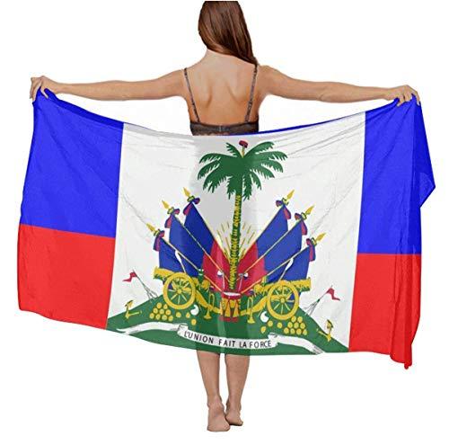 Haitian Flag Chiffon Sarong Wrap Bikini Beach Cover Up Fashion Large Oversize Scarf Wedding Dresses Party Shawls Wraps Scarfs for Ladies Girls Gifts