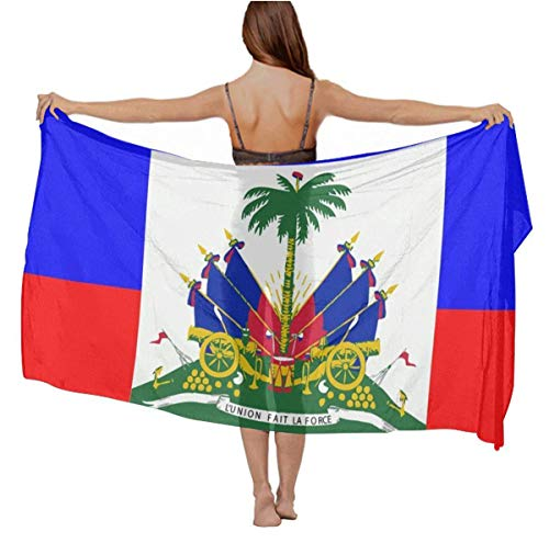 Haitian Flag Chiffon Sarong Wrap Bikini Beach Cover Up Fashion Large Oversize Scarf Wedding Dresses Party Shawls Wraps Scarfs for Ladies Girls Gifts