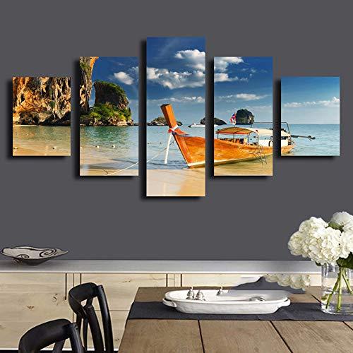 tong99 olieverfschilderij canvas muurkunst 5 boot landschap woonkamer decoratie moderne print L-30x40 30x60 30x80cm Frame