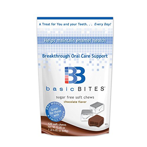 BasicBites Help Protect Enamel From Dry Mouth and Sugar Acids, Prebiotic Technology Developed At U.S. Dental School, Delicious Sugar-Free Soft Chews (Chocolate 120 Count-Two Month Supply)