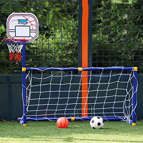 Ruyu Kinder Basketballkorb 2 in 1 Outdoor Sport Kinder-Fußball-Ziel Jungen-Fußball Spielzeug Mini-Basketball-Trainings-Praxis-Zubehör (Color : White)