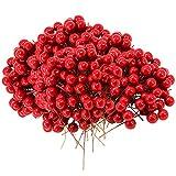 Homo Trends - 500 mini bacche di agrifoglio artificiali di agrifoglio rosso per decorazioni per albero di Natale, ghirlande
