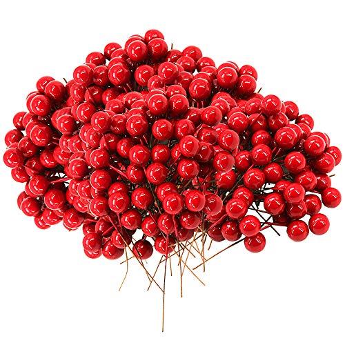 Homo Trends 500 Stück Mini-Beeren aus künstlichen Stechpalmen-Beeren, rot, für Weihnachtsbaumschmuck, Kranzherstellung