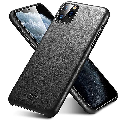 ESR Funda de Auténtico Cuero Premium Compatible con iPhone 11 Pro, Funda Fina para Teléfono de Cuero, Funda Slim, Resistente a Arañazos, Funda Protectora iPhone 11 Pro 2019 – Negro.