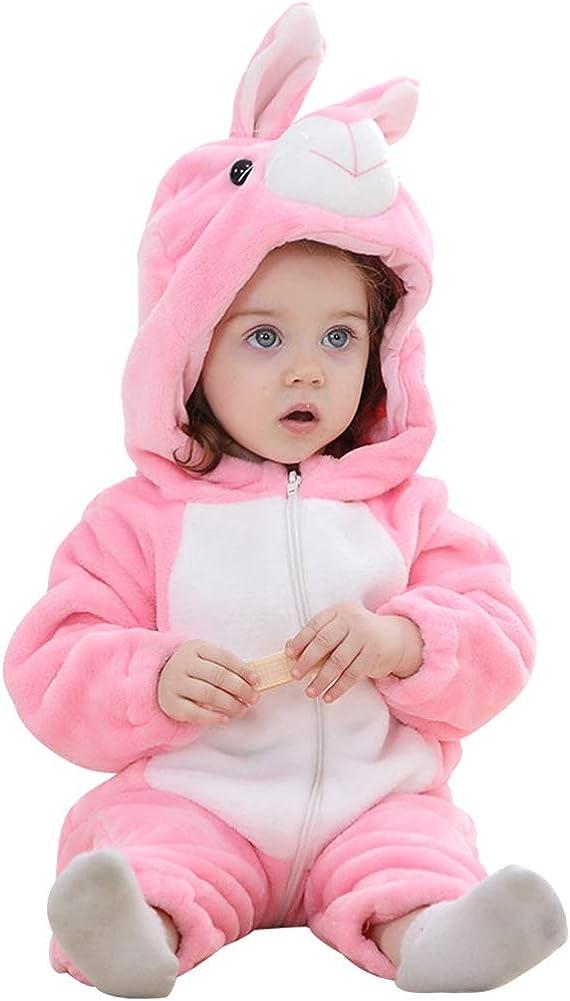 ANUFER Unisex Bambina Cappuccia Pagliaccetto Flanella Carina Animale Tuta Pigiama 0-36 Mesi