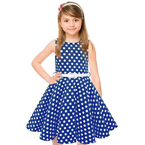 HBBMAGIC 1950 Vintage Vestido de niña Cuello Redondo sin Mangas de algodón Floral Vestidos con cinturón de Fiesta (De 11 a 12 años (82.5cm), Azul/Punto Blanco)