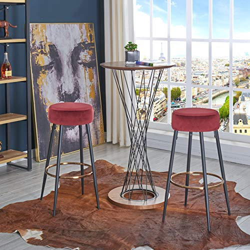 Duhome Set of 2 Barstools Round Velvet Bar Stool Contemporary Dining Chair Seat for Restaurant Coffee Shop Bar Red