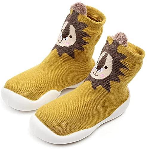 Zapatillas de bebé calcetines de dibujos animados antideslizante sin resbalones ejecutivos de soledad gruesa primero calcetines para caminar zapatos 6-36m niño pequeño amarillo-Amarillo_6-12 mese